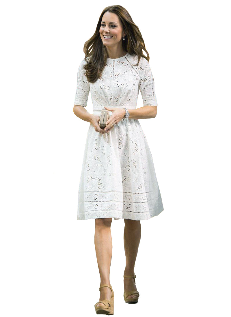 Kate White Crochet Eyelet Lace Skater Dress