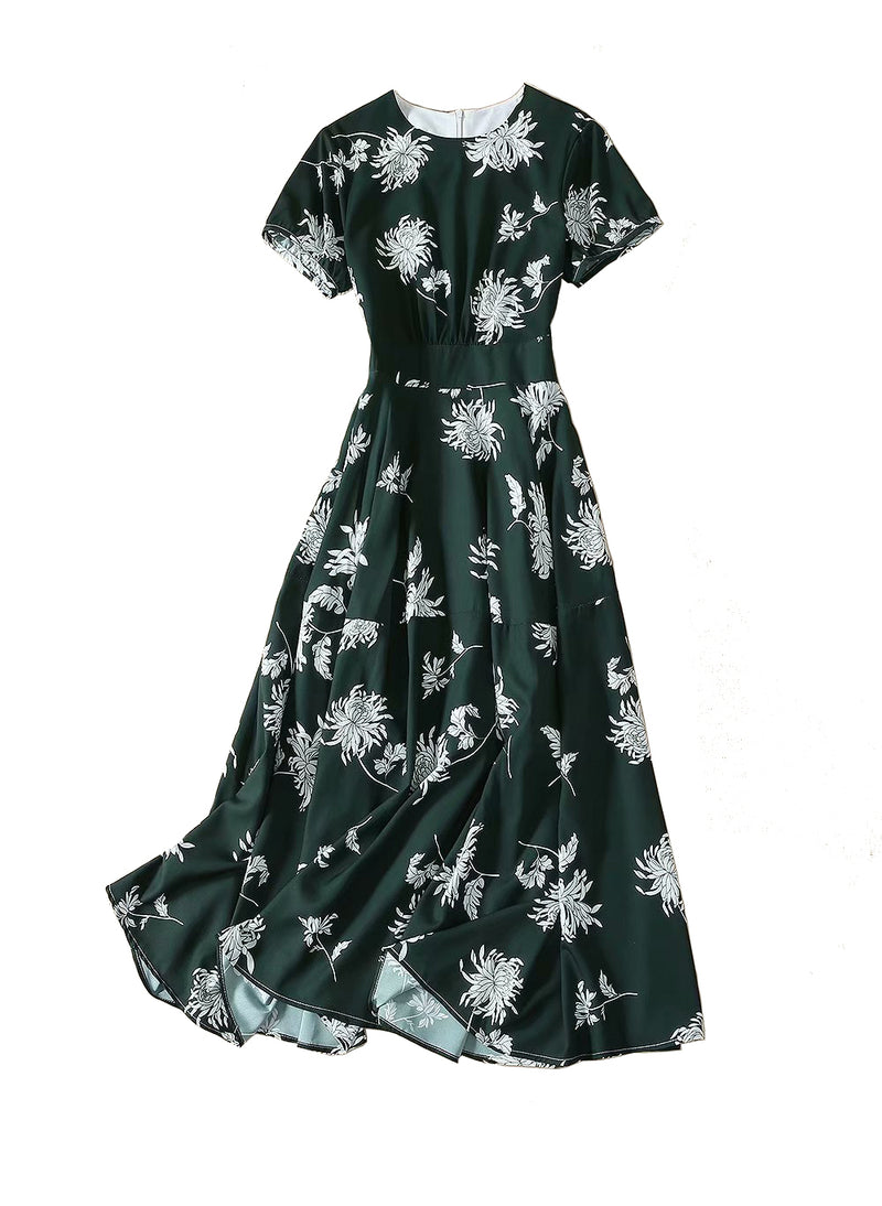 Kate Ladylike Dahlia-Print Midi Dress in Forest Green