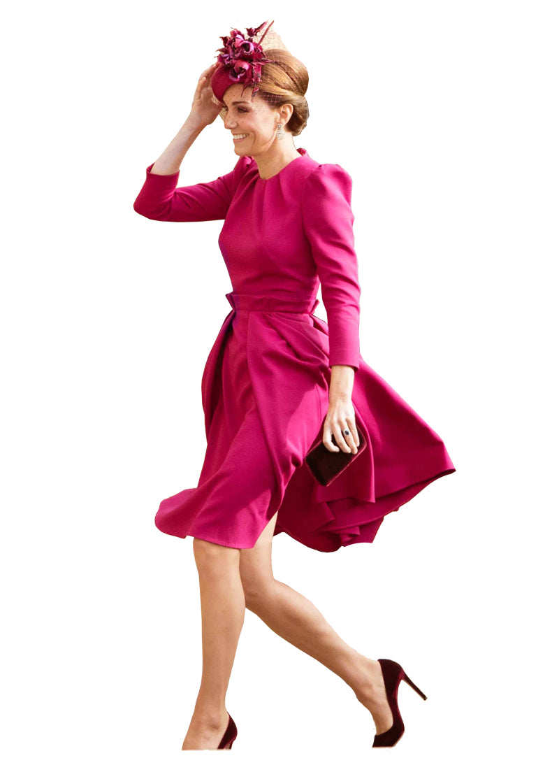 Kate Puff Sleeve Fit-and-Flared Midi Dress in Raspberry Pink