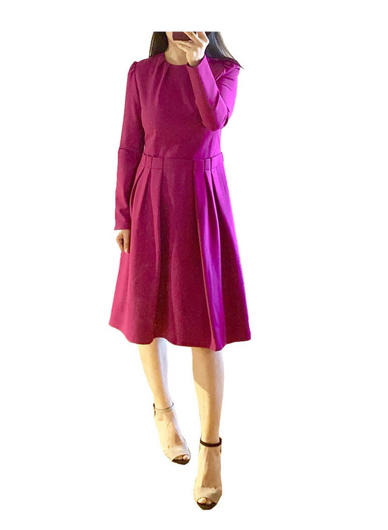 Kate Raspberry Pink Puff Sleeve Midi Dress-1