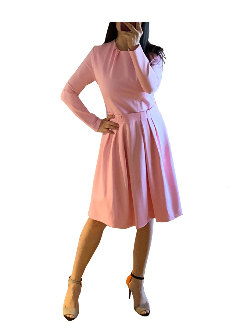 Kate Pastel Pink Fit-And-Flared Midi Dress
