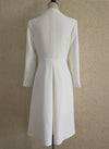 Kate Pleated Open Neck Dress Coat in White