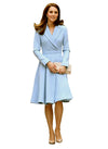 Kate Fit-and-Flared Dress Coat in Baby Blue