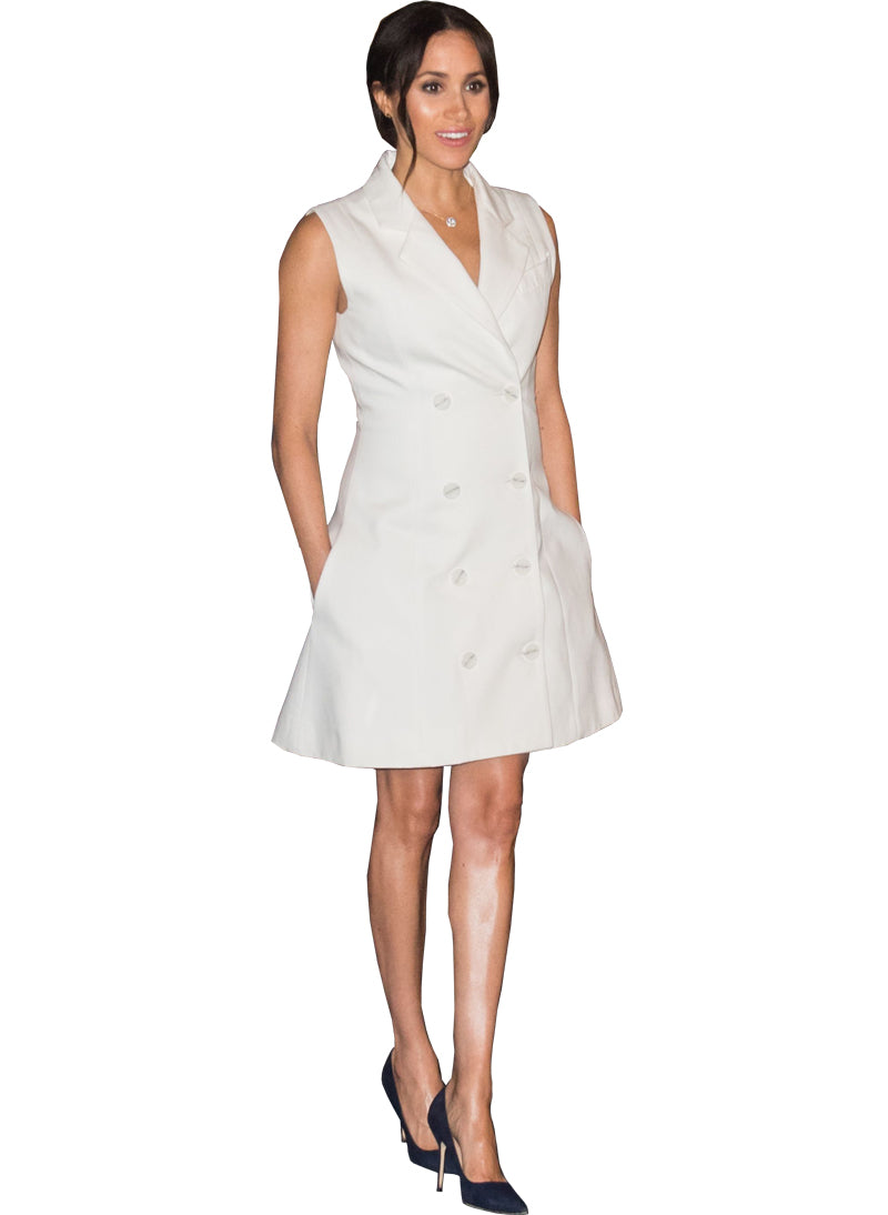 Meghan Double Breasted Sleeveless White Tuxedo Dress