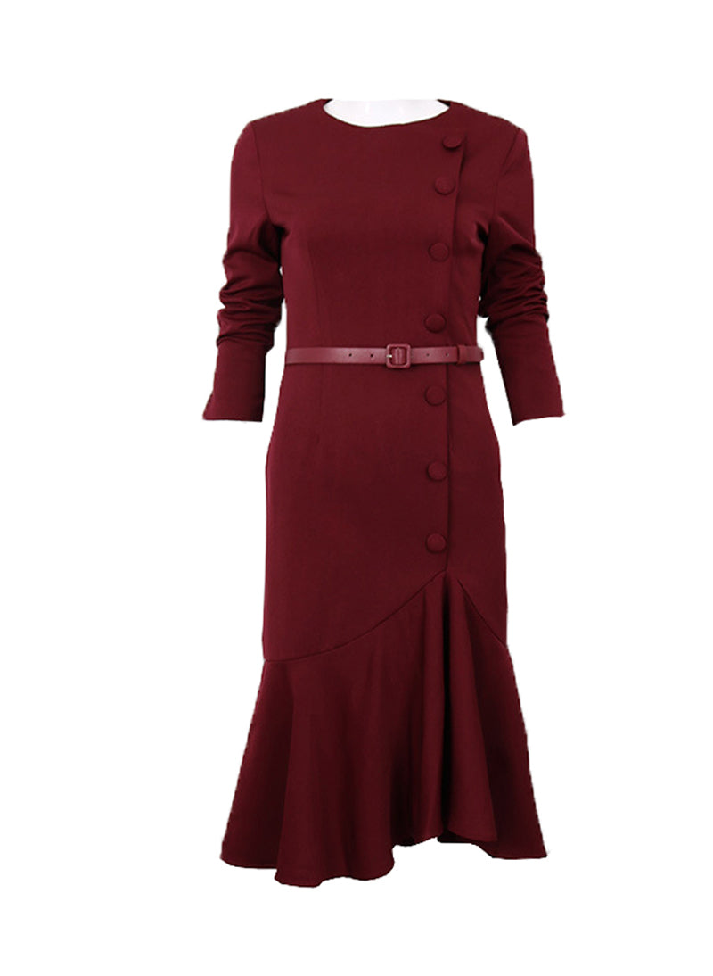 Meghan Inspired Burgundy Dress with Irregular Fishtail Skirt