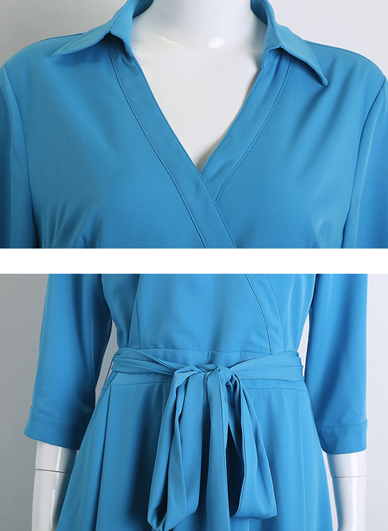 Meghan Inspired Sky Blue Wrap Style Shirt Dress
