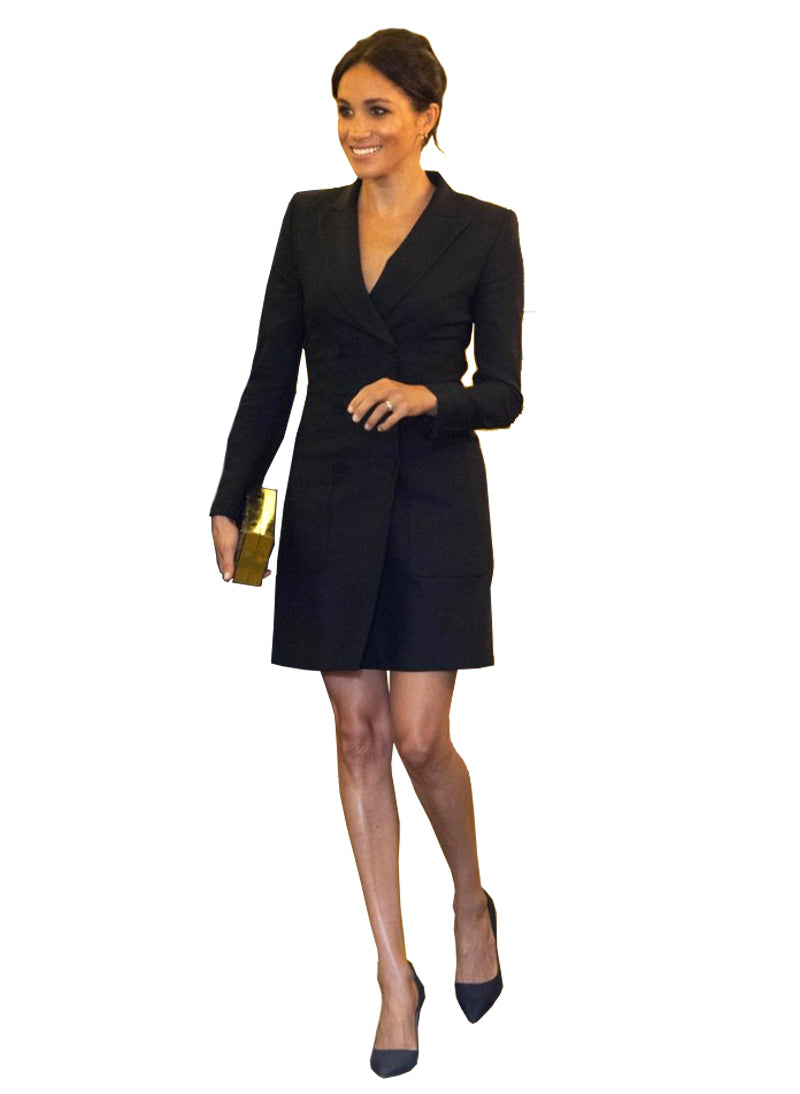 Meghan Gold Button Double Breasted Blazer Dress in Black
