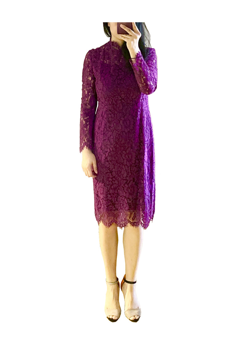 Kate Floral Crochet Lace Midi Dress in Purple
