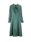 Kate Dark Green Polka Dot Pussy-bow Shirt Dress