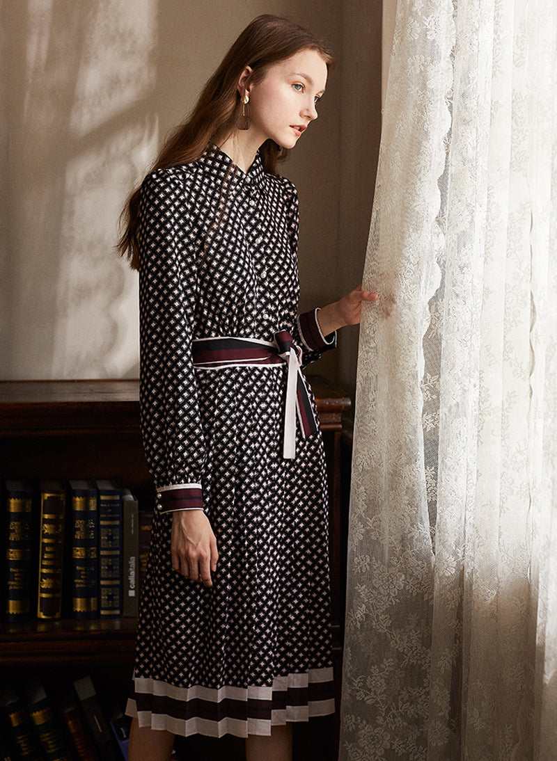 Kate Diamond Print Pleated Midi Shirt Dress