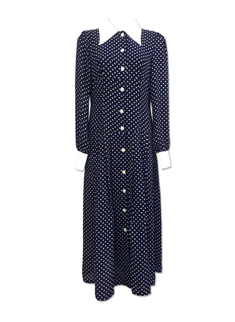 Kate Navy Button-Down Polka Dot Shirt Dress