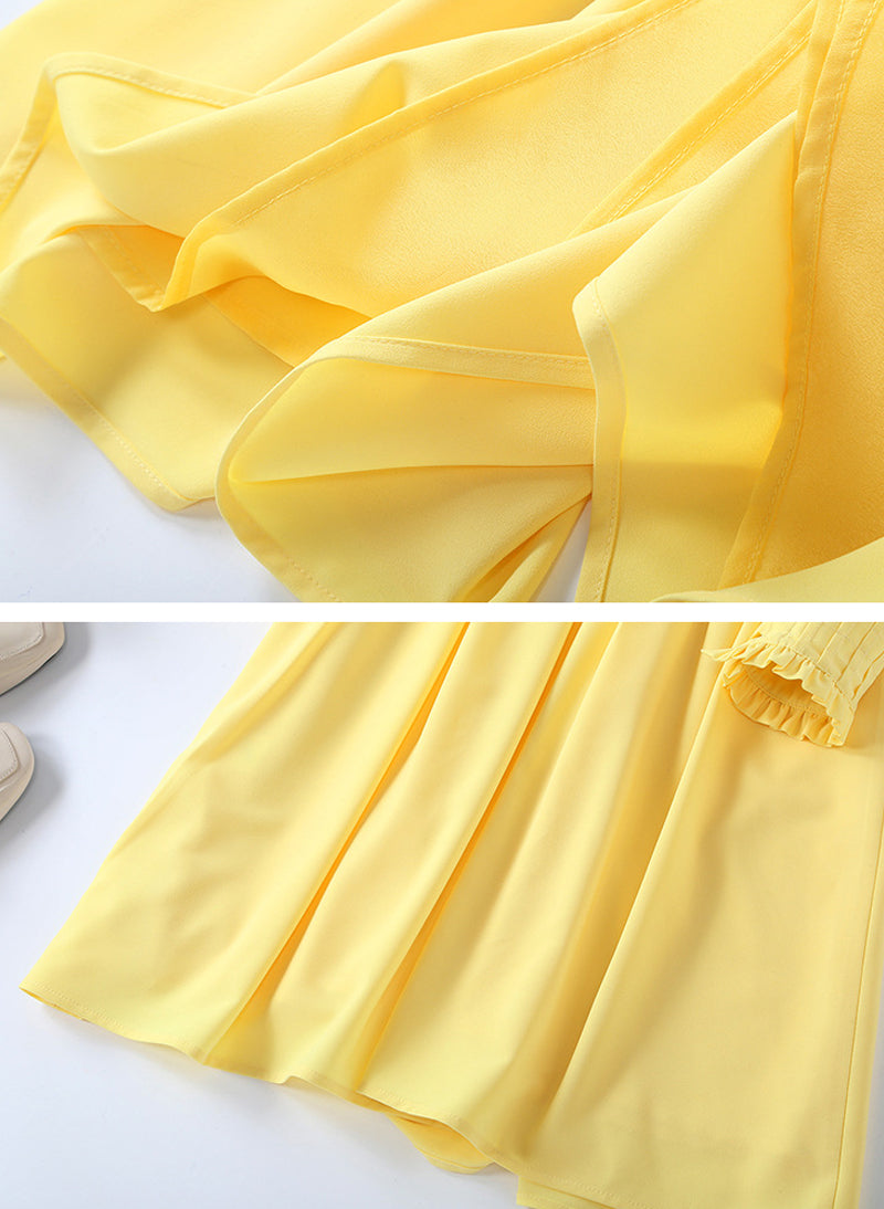 Kate Inspired Yellow Ruffle Bib Front Shirt Dress