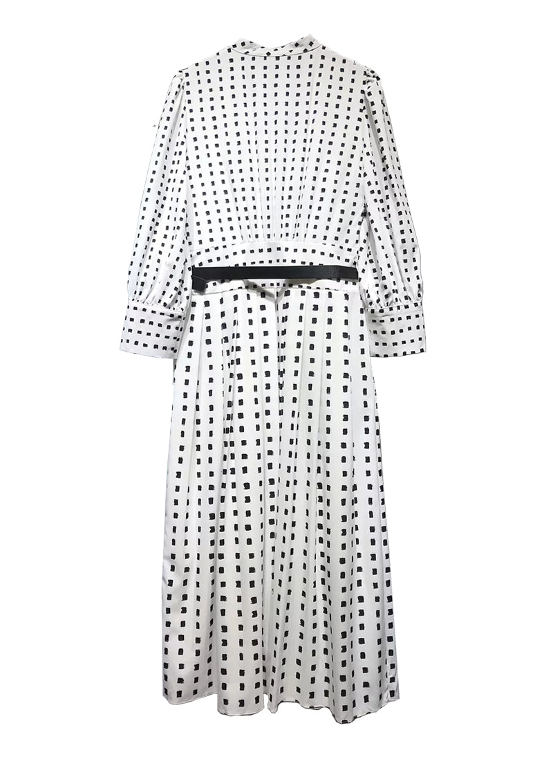 Queen Letizia High Neck Monochrome Print Pleated Dress