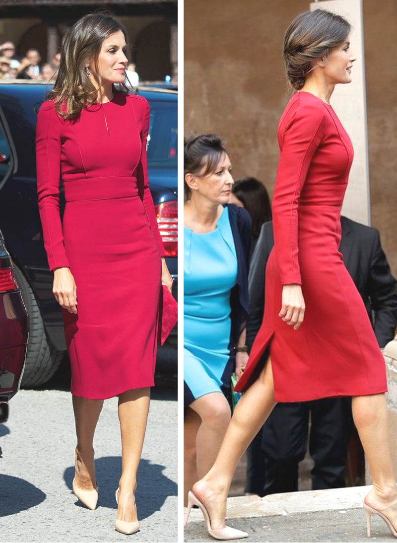 Queen Letizia Red Fitted Piped Sheath Pencil Dress