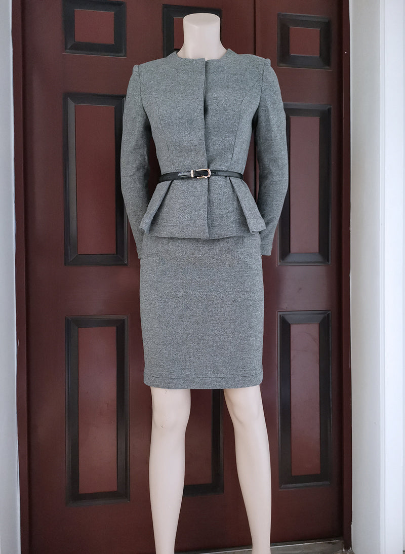 Queen Letizia Grey Peplum Blazer & Pencil Skirt