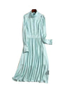 Kate High Neck Bishop Sleeve Midi Dress in Pastel Mint