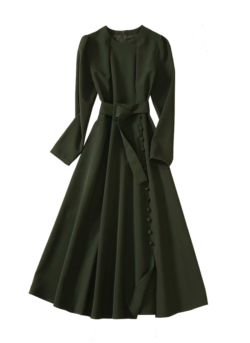 Kate Dark Green Midi Slit Dress with Long Sleeve