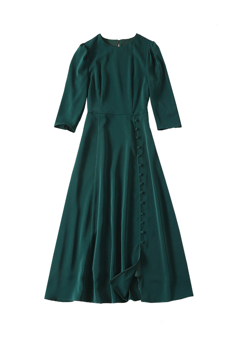 Kate Dark Green Midi Slit Dress with 3/4 Sleeve