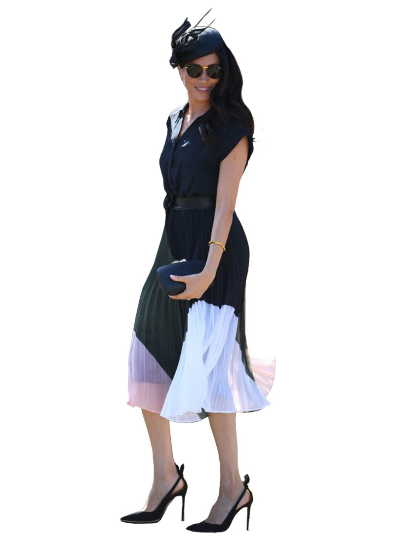 Meghan Black Chiffon Pleated Midi Shirt Dress