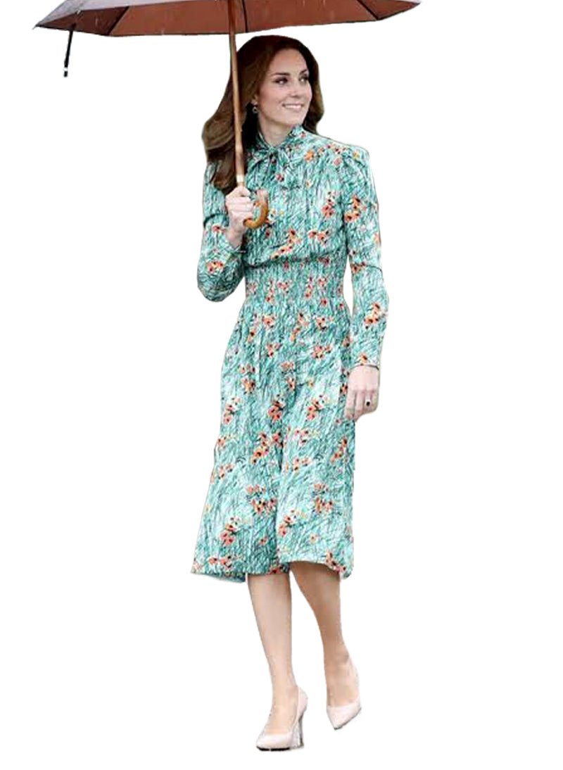Kate Green Poppy-Print Pussy Bow Shirt Dress
