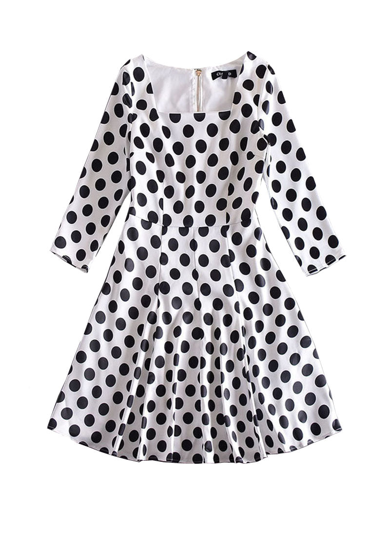 Kate Square Neck Polka Dot Skater Dress