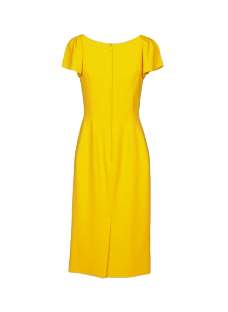 Kate Ruffle Sleeve Fitted Pencil Dress in Yellow