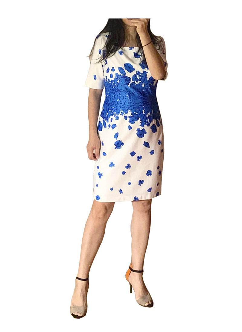Kate Blue Poppy Print Sheath Midi Dress