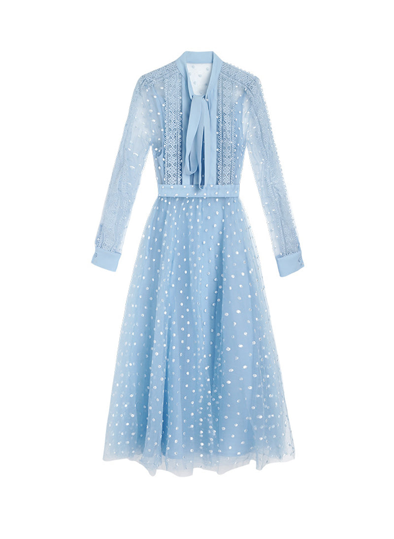 Kate Pussy Bow Embroidered Tulle Dress in Blue