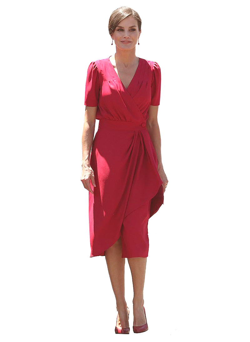 Queen Letizia Empire Ruffled Button Midi Dress in Red