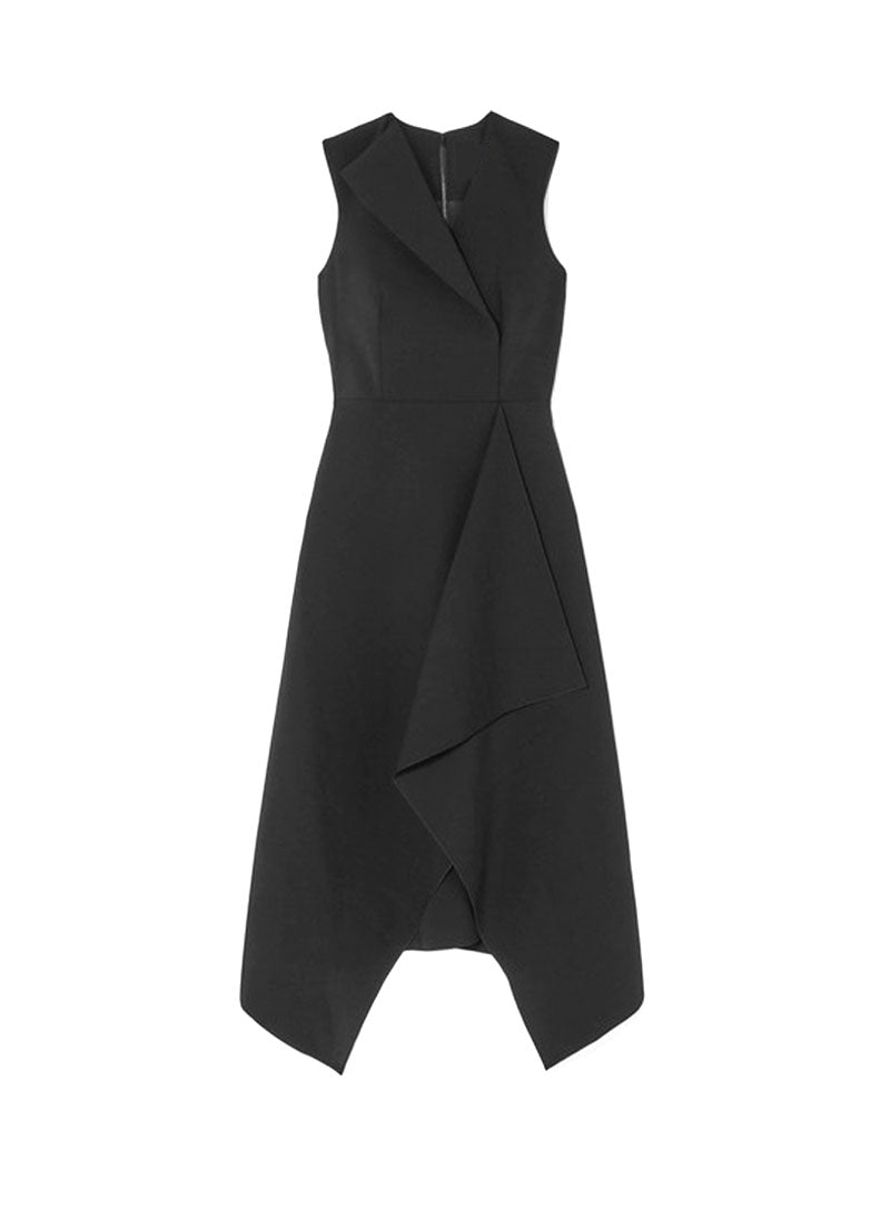 Meghan Sleeveless Asymmetric Folded Midi Dress in Black