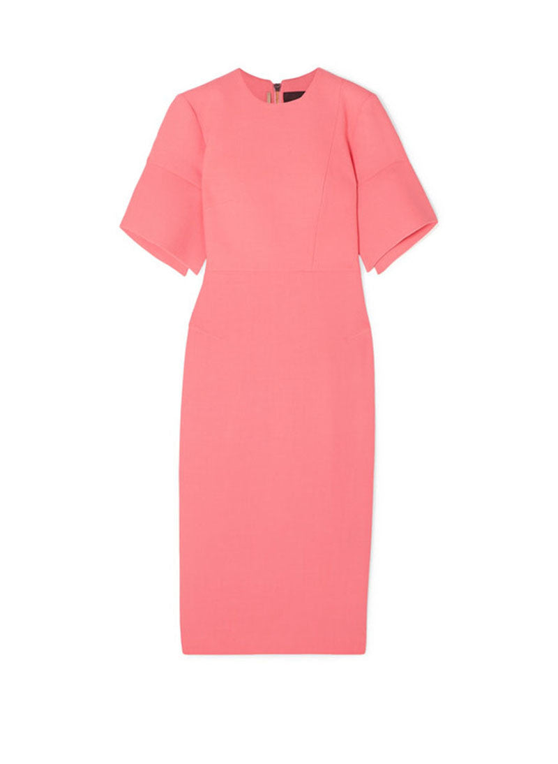 DOAB Crepe Body-hugging Midi Dress in Coral