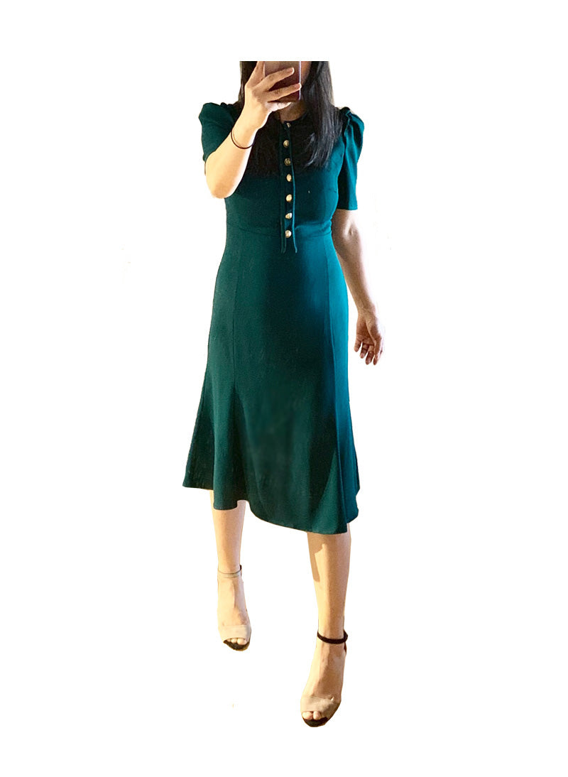 Kate 40s' Button Front Crepe Midi Dress