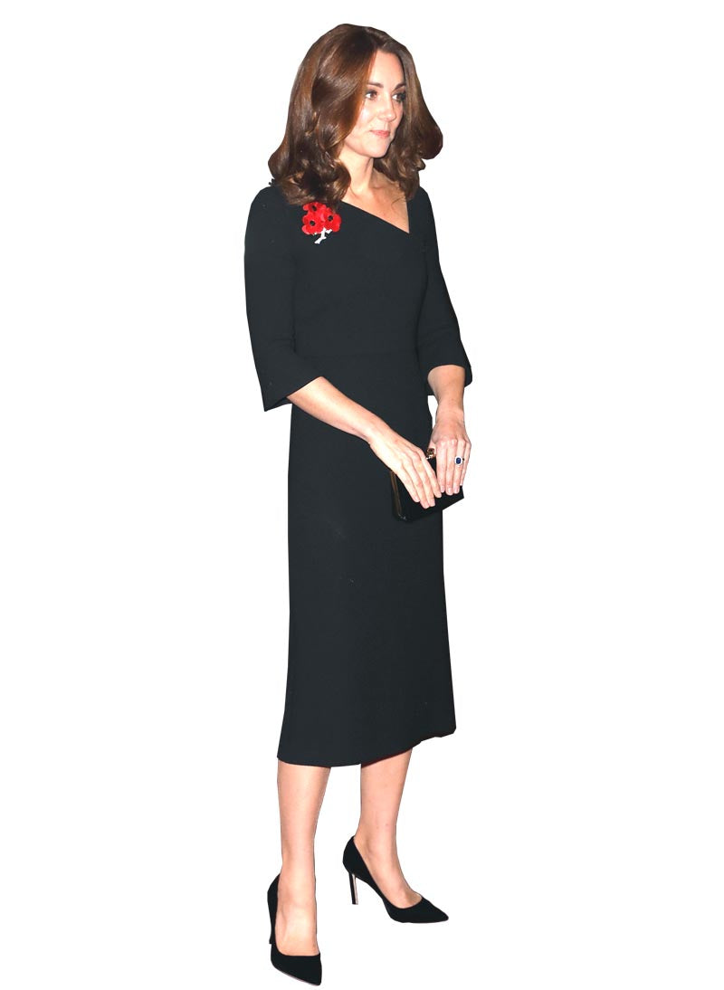 Kate Black Asymmetric Neck Fitted Midi Dress