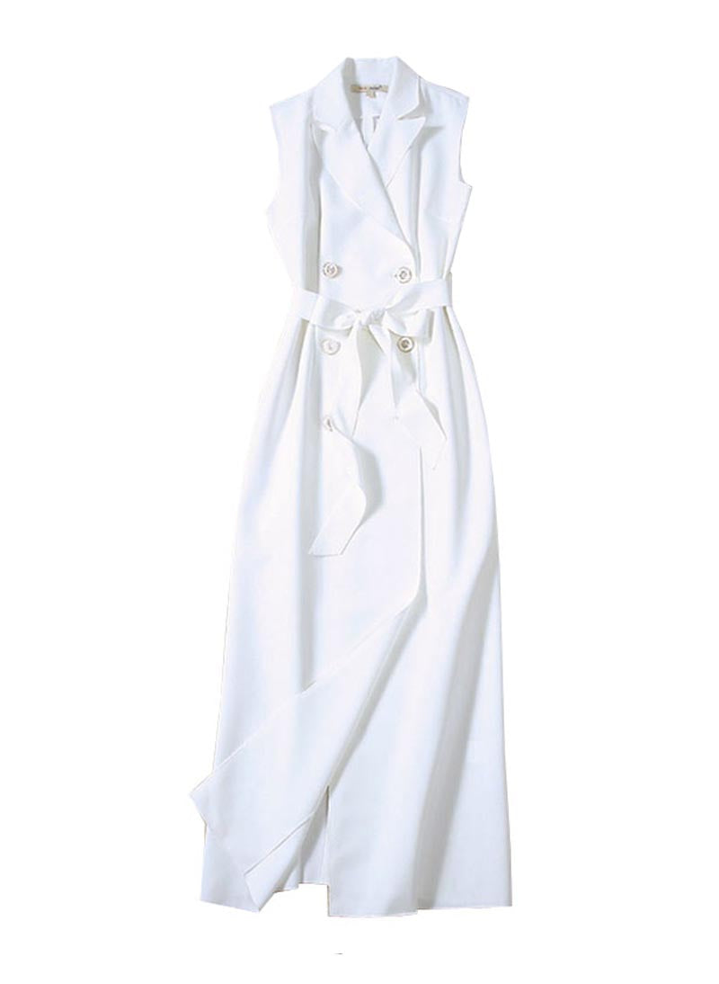 Meghan Inspired Double Breasted Trench Maxi Dress in White
