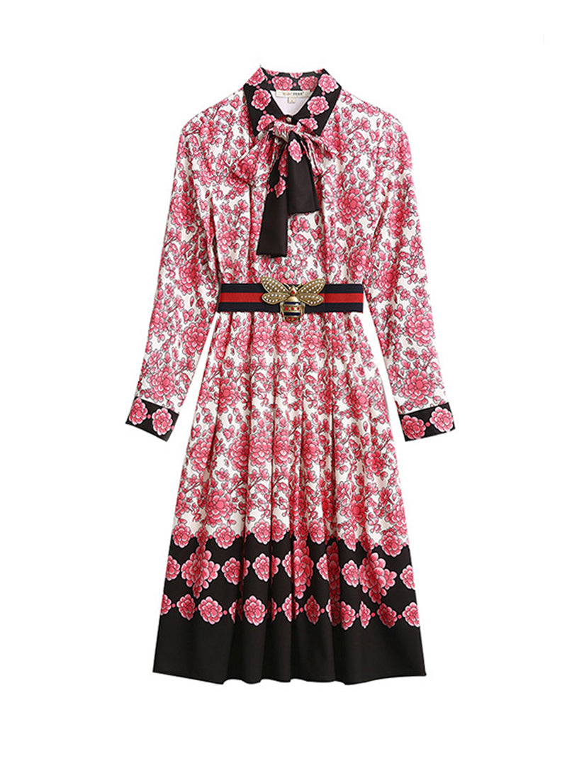 DOAB Pussy-Bow Pleated Porcelain Floral Print Dress