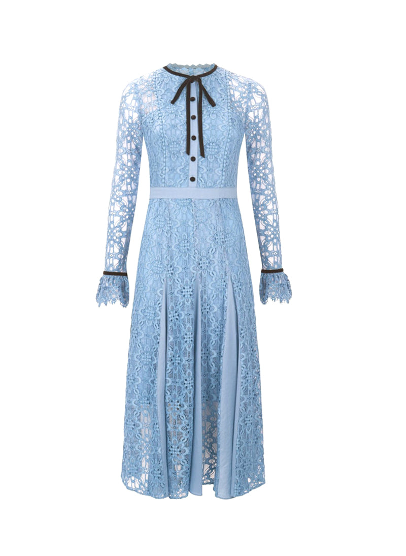 Kate Victorian Style Iris Blue Lace Dress