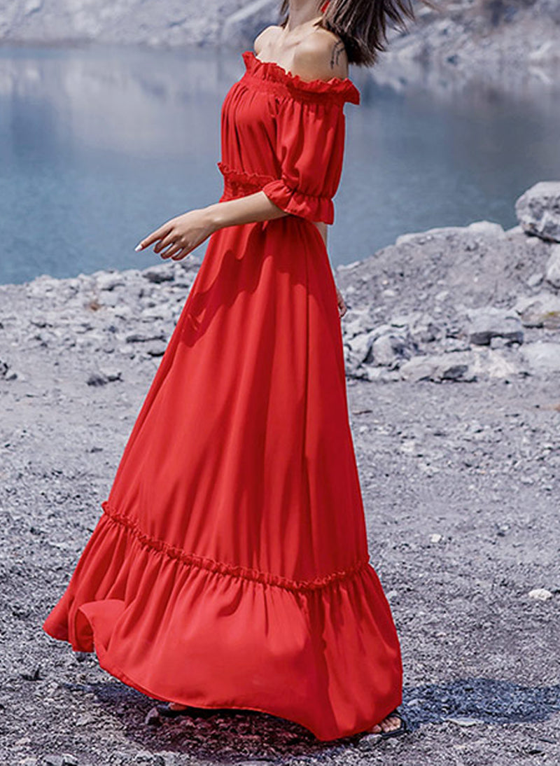 Kate Ruffled Off-The-Shoulder Maxi Dress in Red