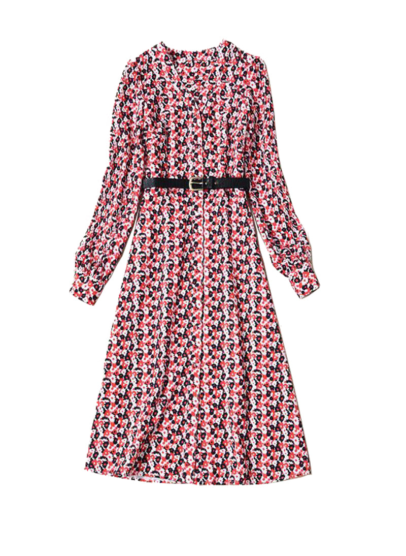 Kate V-neck Carnation Floral Georgette Shirt Dress