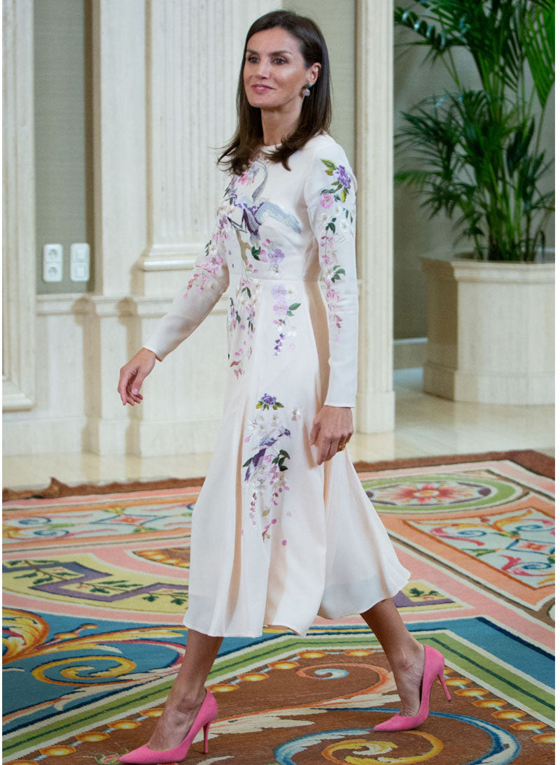 Queen Letizia Oriental Embroidered Midi Dress