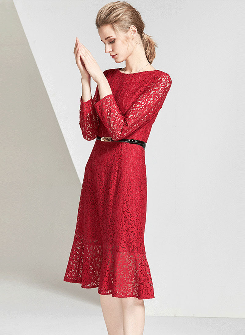 DOAB Floral Red Lace Fit-and-Flared Midi Dress