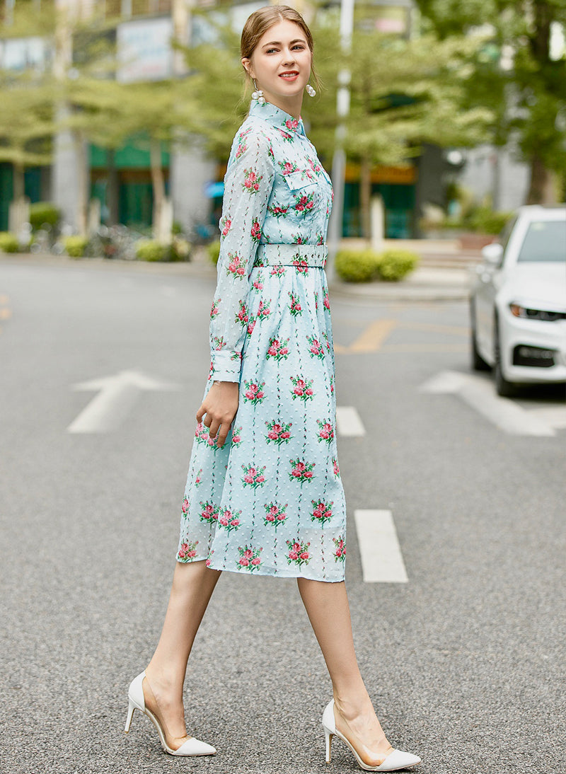 Kate Floral Motif Belted Midi Shirt Dress