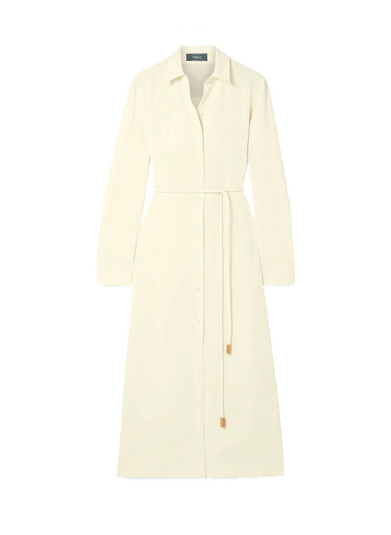 Meghan Self-belted Crepe Long Slit Shirt Dress in Cream