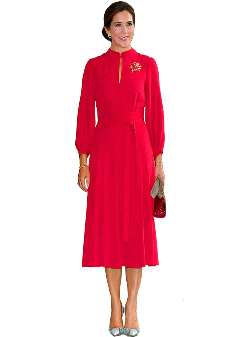 Princess Mary Slash Front Long Sleeve Midi Dress in Red
