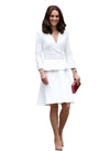 Kate Inspired Style Peplum Midi Dress in White