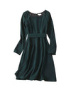 Kate Square Neck Emerald Fit and Flare Dress