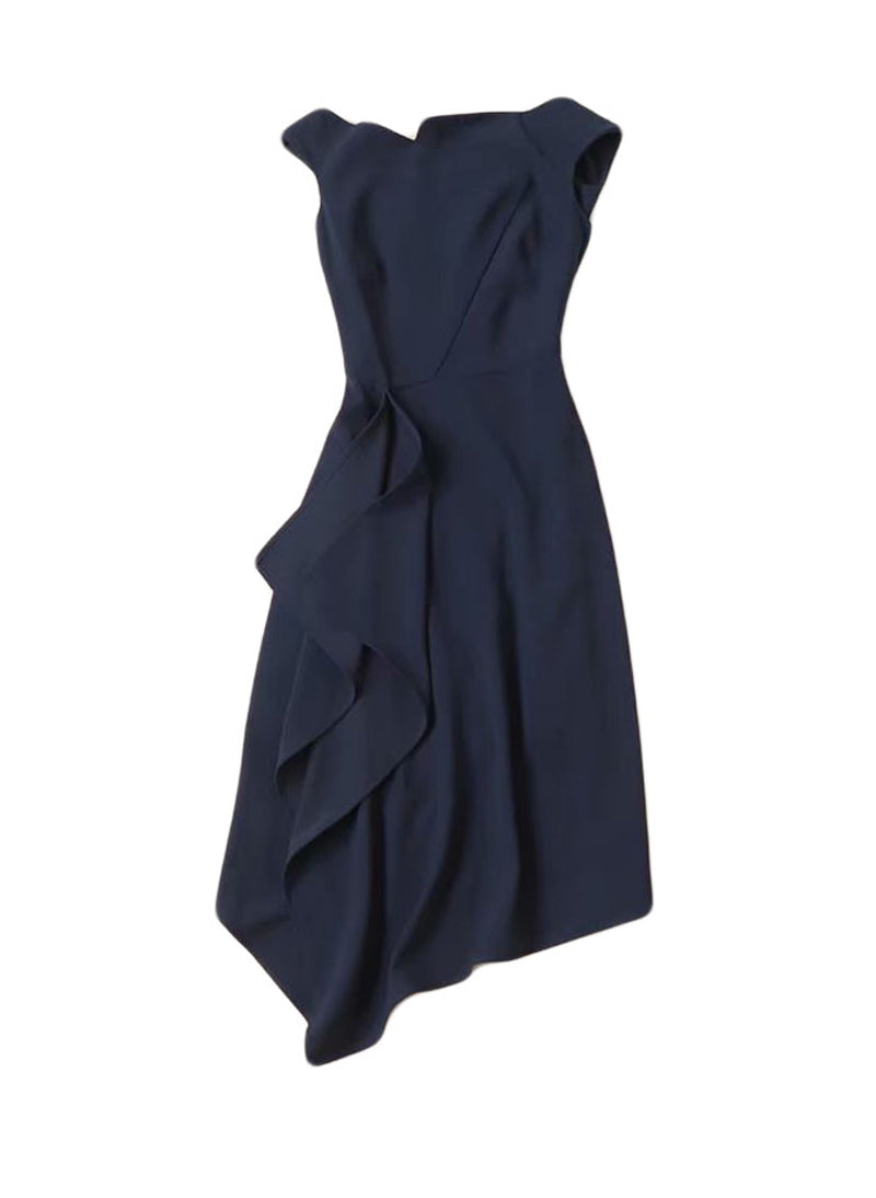 Meghan Off Shoulder Asymmetric Dress in Dark Navy