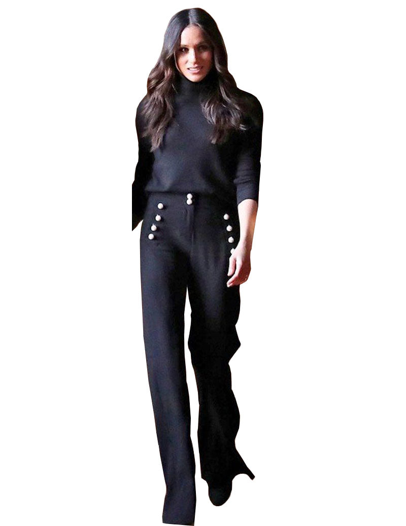Meghan Button Front Black Wide-leg Pants