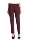 Kate Mid-Rise Ankle Length Crop Trousers in Burgundy