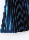 Meghan Pleated Midi Skirt in Metallic Blue