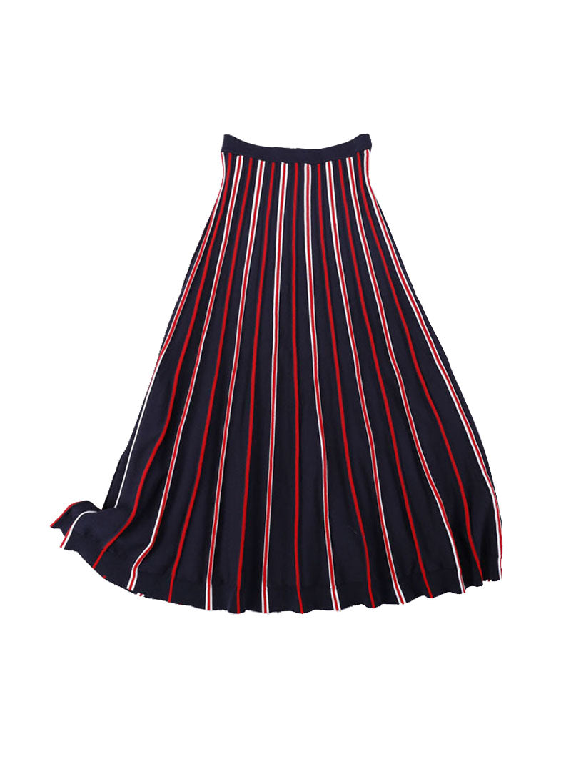 Pippa Middleton Elastic Waist Striped Knit Midi Skirt